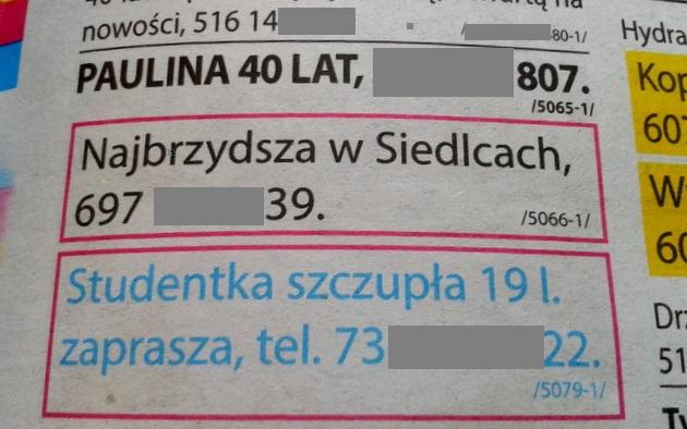 Autentyczne ogłoszenie w z lokalnej gazety